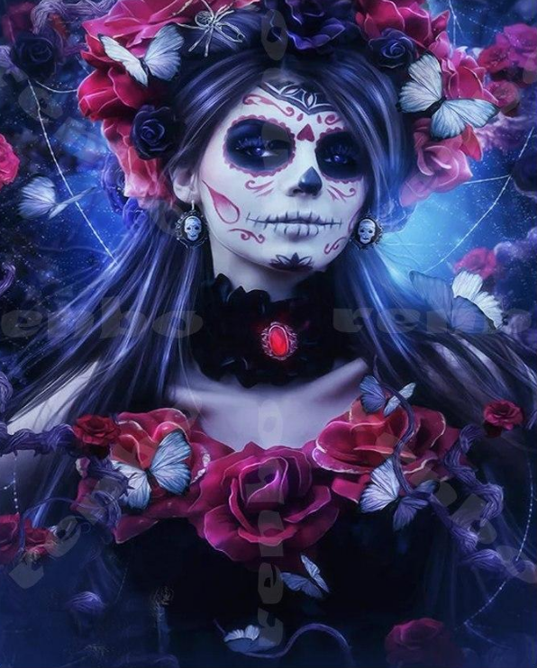 Day of The Dead diy 5d diamond painting skull woman diy diamond embroidery full square mosaic kit embroidery with diamonds