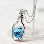 Amazing New Women Ladies New Love Drift Bottles Crystal Chain Pendants Necklace Girl Gift