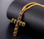 punk skull skeleton cross necklace for men retro design Biker jewelry with chain