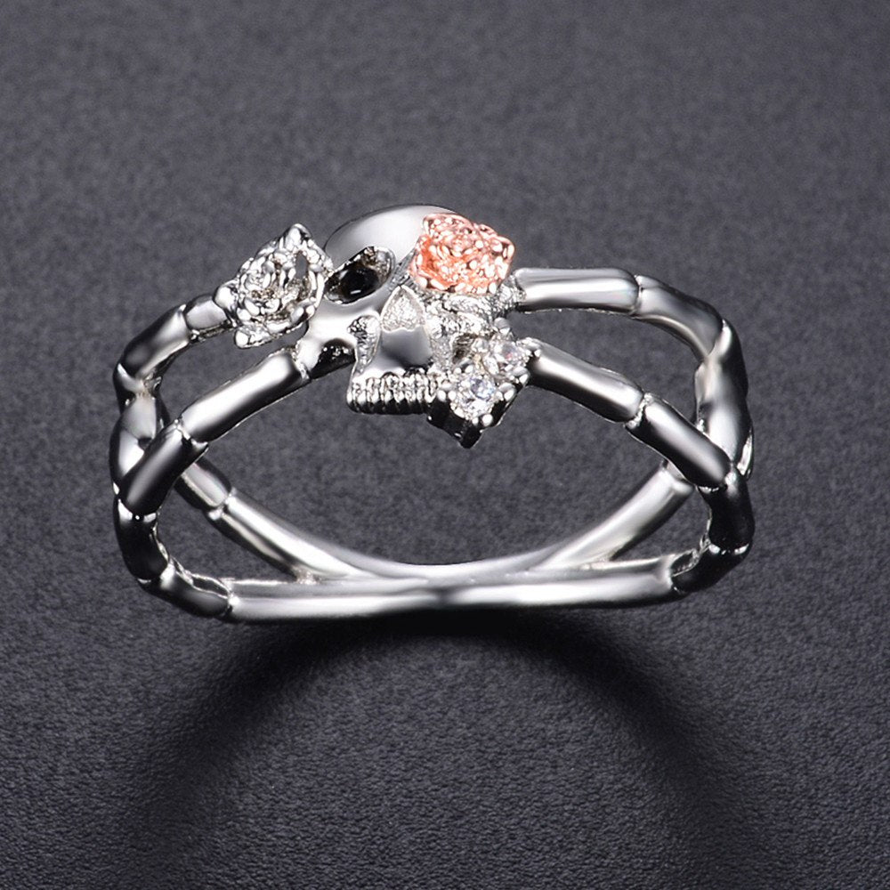 Romad New Popular Gun Black Cross Skull Rose Flower Ring for Women Gothic Engagement Wedding Party Ring Punk Jewelry