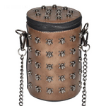 Punk Style Women Bucket Shoulder Bag Gothic Skull Punk Rivets Bags PU Leather Metal Chain Crossbody Messenger Bag