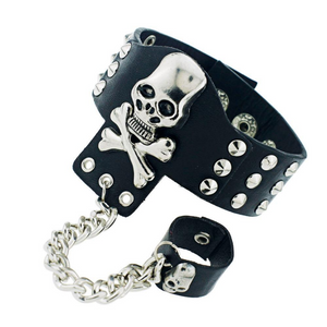 Gothic Skeleton Skull Chain Link Rock Rivet  Cuff  Black Leather Punk Bangle Bracelet S054