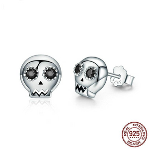 100% 925 Sterling Silver Halloween Skeleton Skull Stud Earring For Women Girl Jewelry Gift CQE064