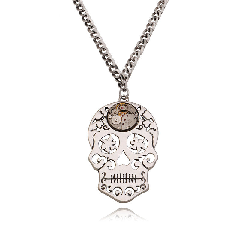 Vintage Skull Head Pendant Necklaces Men Steampunk Watch Parts Gear Movements Necklace Long Chains Women Jewelry