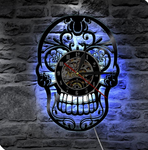 LED Lighting Tattoo Salon Creative CD Vinyl Record 3D Skull Wall Clock  Classic  Art Handmade Home Decor Clock
