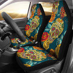 Sugar skull floral car seat cover