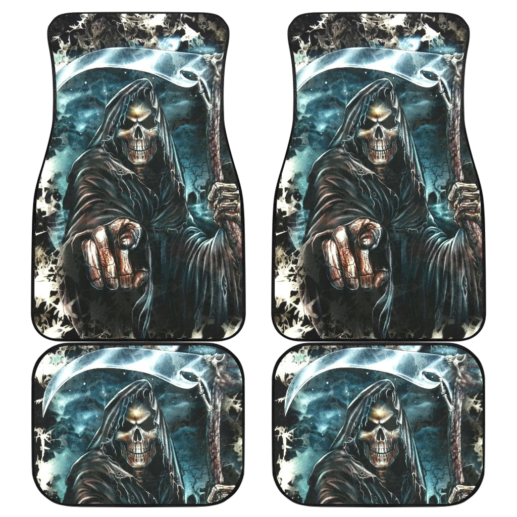 Set of 4 pcs grim reaper skull car mats