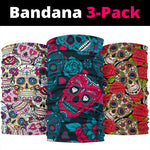 Set of 3 sugar skull day of the dead Bandana