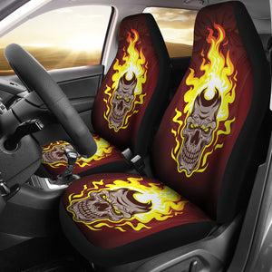 Set of 2 - Gothic horror Halloween skull flaming drum, skull car seat cover