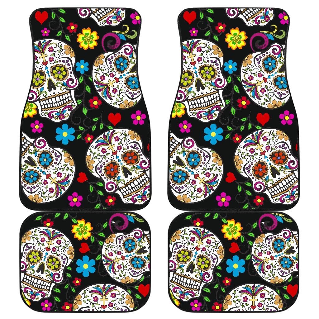 Set of 4 Sugar skull car mats