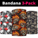 Set of 3 gothic awesome skull bandana