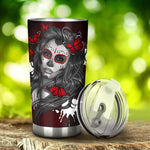 Beautiful girl sugar skull tumbler cup