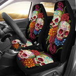 Set 2 pcs day of the dead sugar skull car seat covers