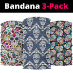 Set of 3 pcs sugar skull day of the dead bandana