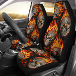 Set of 2 pcs flaming fire skulls car seat covers