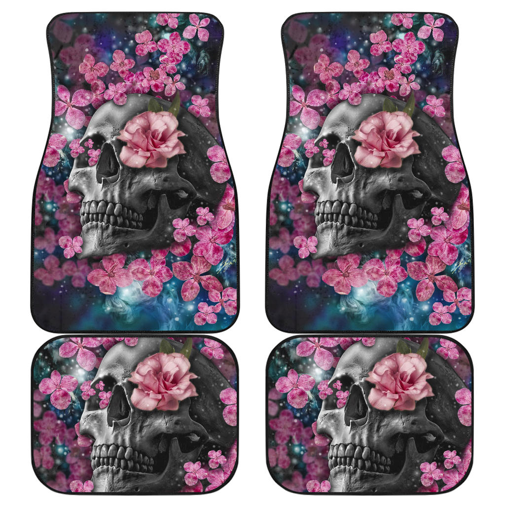 Set of 4 pcs floral skull car mats
