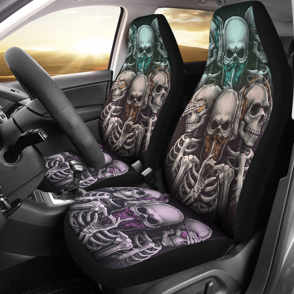 Set 2 pcs No see no speak no hear skull car seat covers