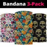 Set of 3 sugar skull bandana