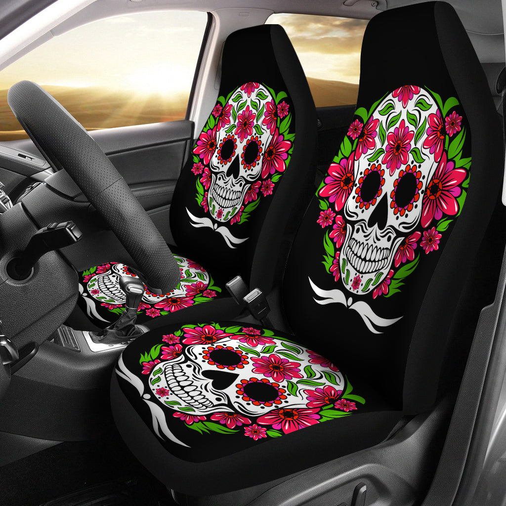 Sugar skulls car seat cover