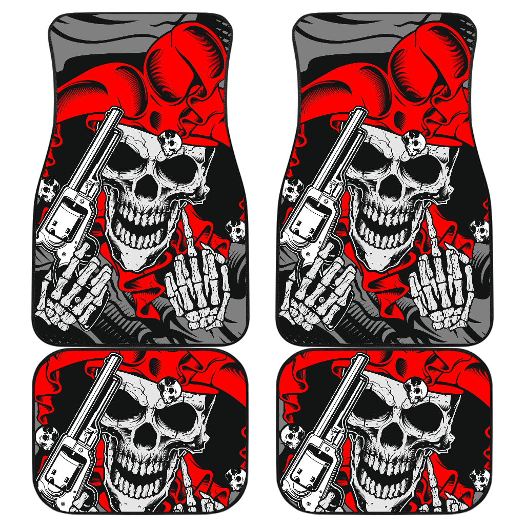 Set of 4 pcs skull car mats