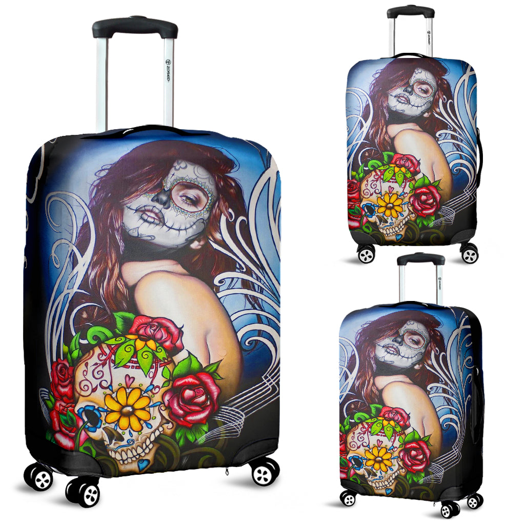 Sugar skull girl luggage covers