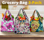 Set of 3pcs Sugar skull grocery bag