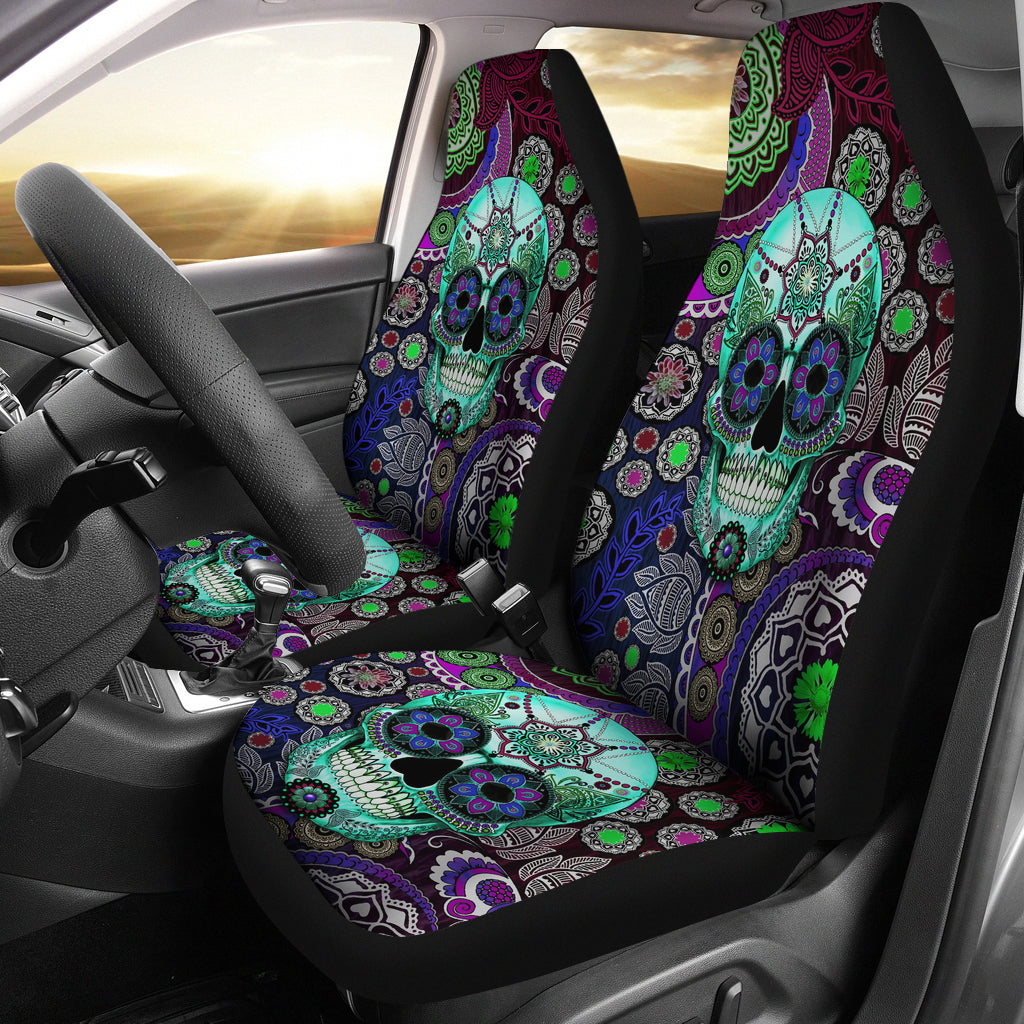 Set 2 pcs sugar skull car seat covers