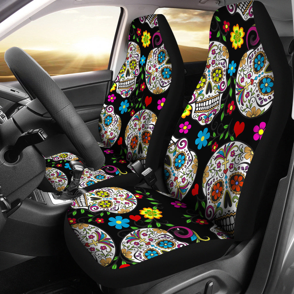Set of 2 Beautiful sugar skull seat covers