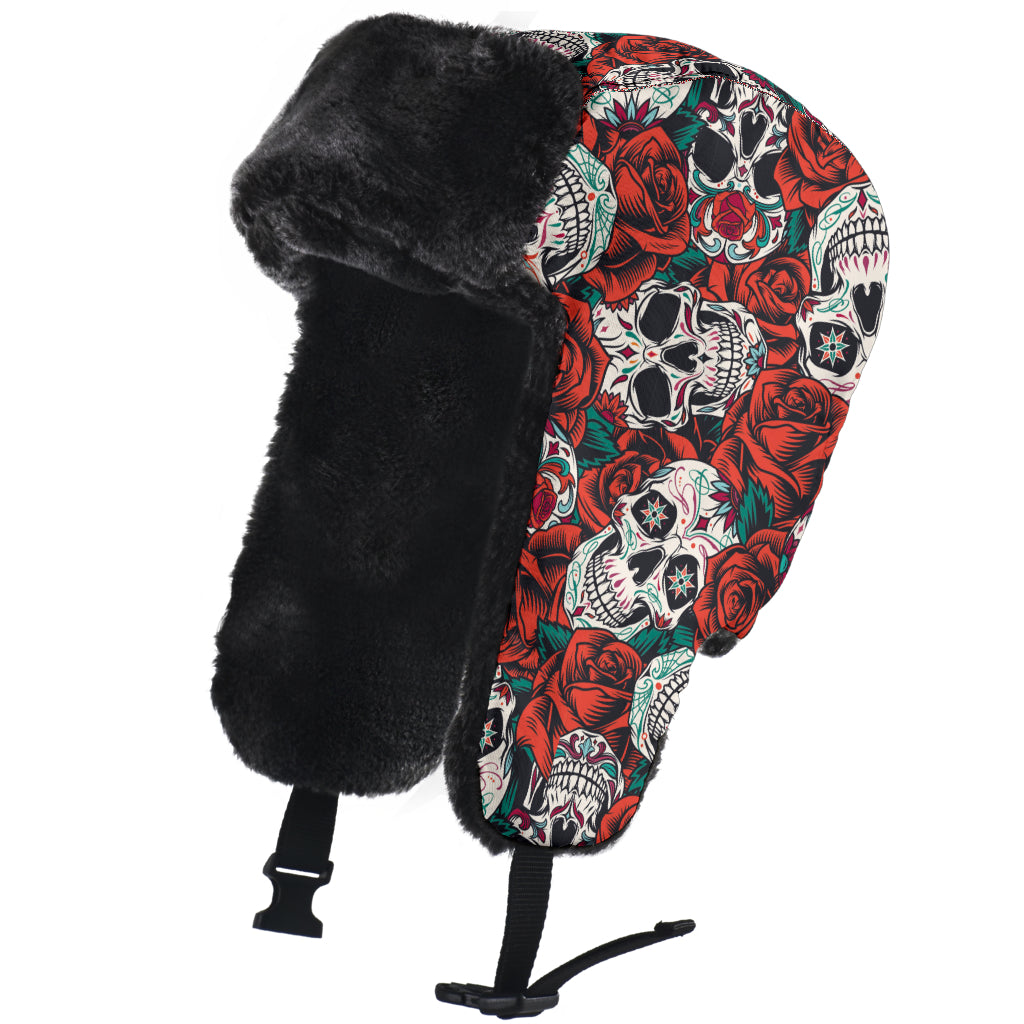 Sugar skull trapper hat