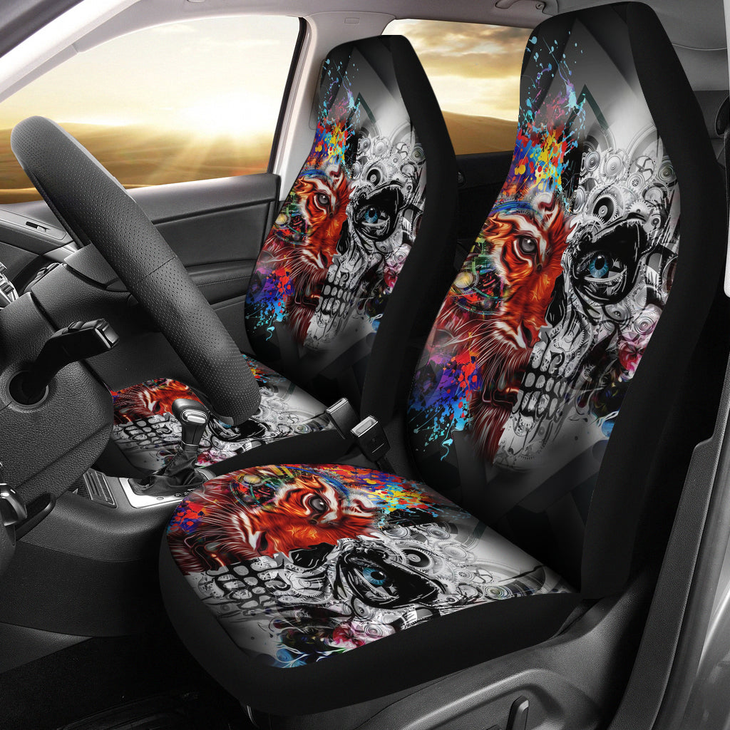 Set 2 skull tiger car seat cover