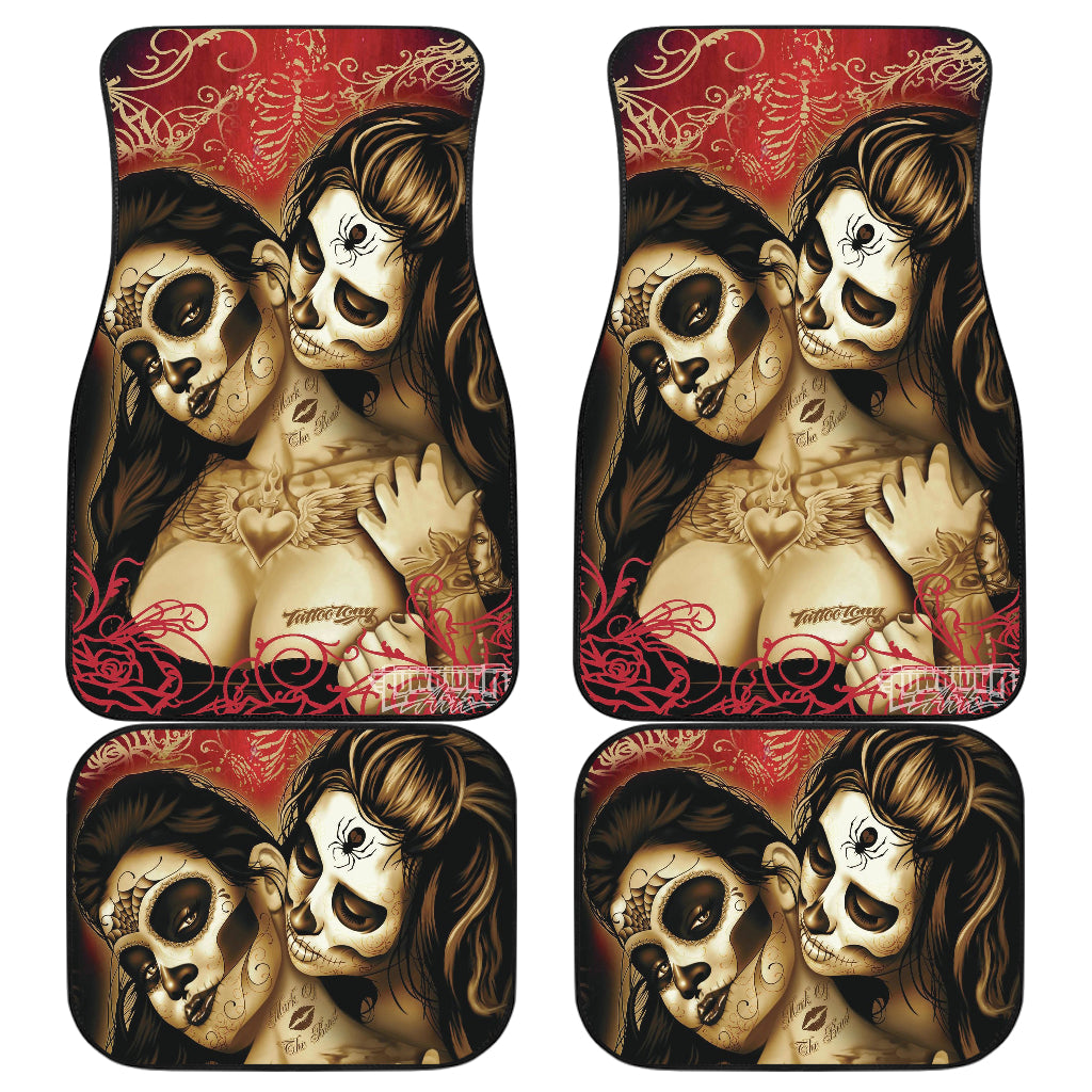 Set of 4 pcs beautiful girl sugar skulls car mats