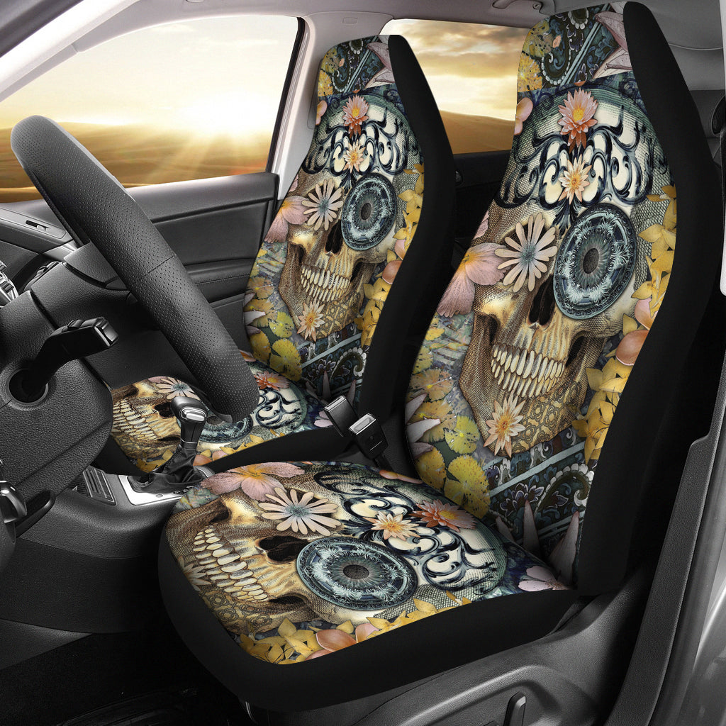 Set of 2 floral sugar skull seat covers
