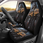 Set of 2 - Game over skull grim reaper car seat covers