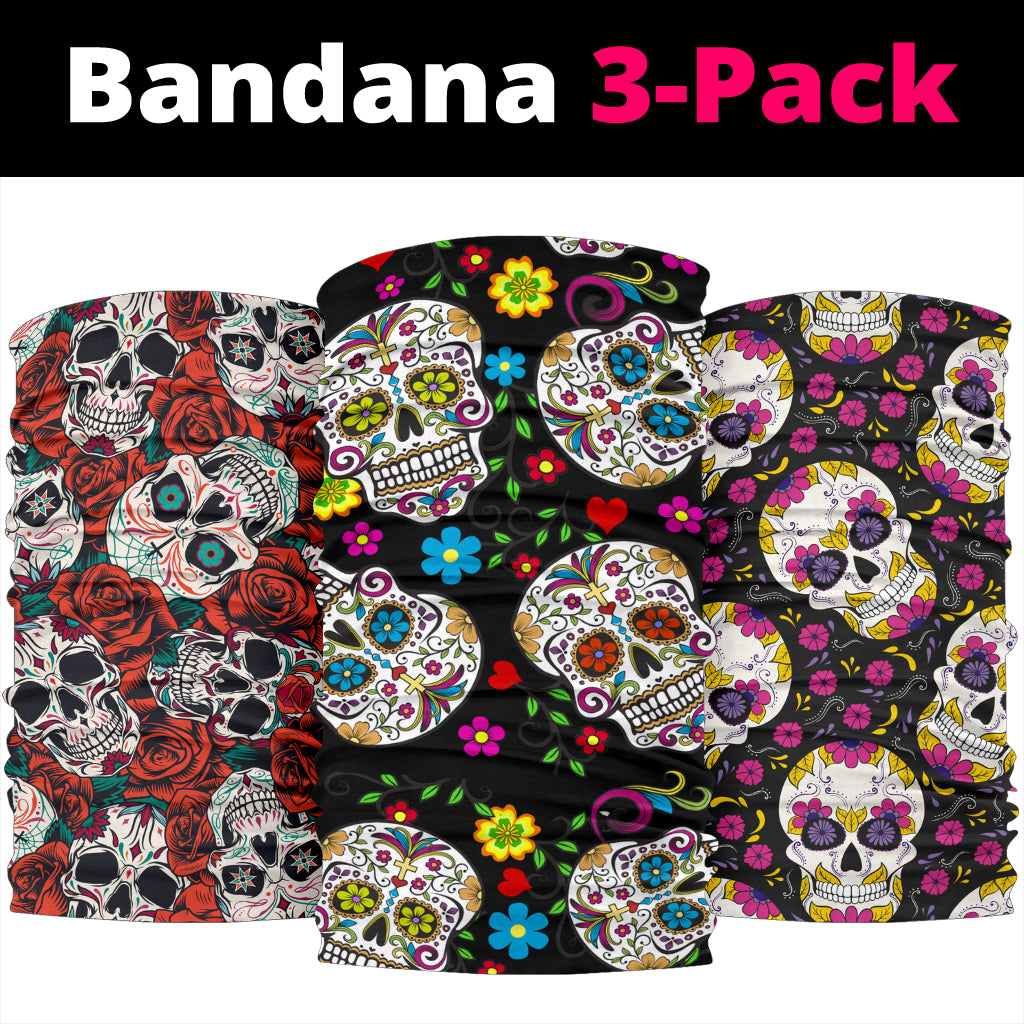 Set of 3 Day of the dead sugar skull bandana
