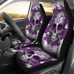 Set of 2 sugar skull day of the dead car seat covers