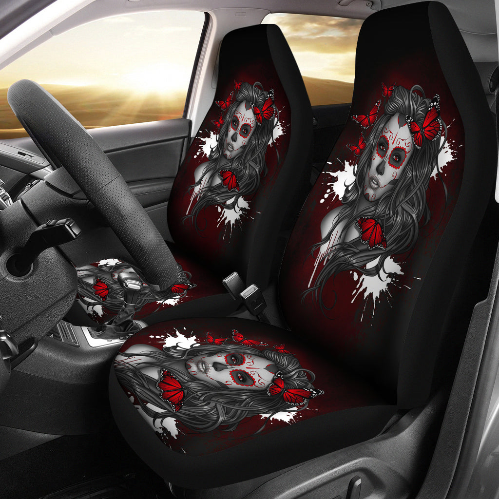 Set of 2 pcs beautiful sugar skull girl car seat cover