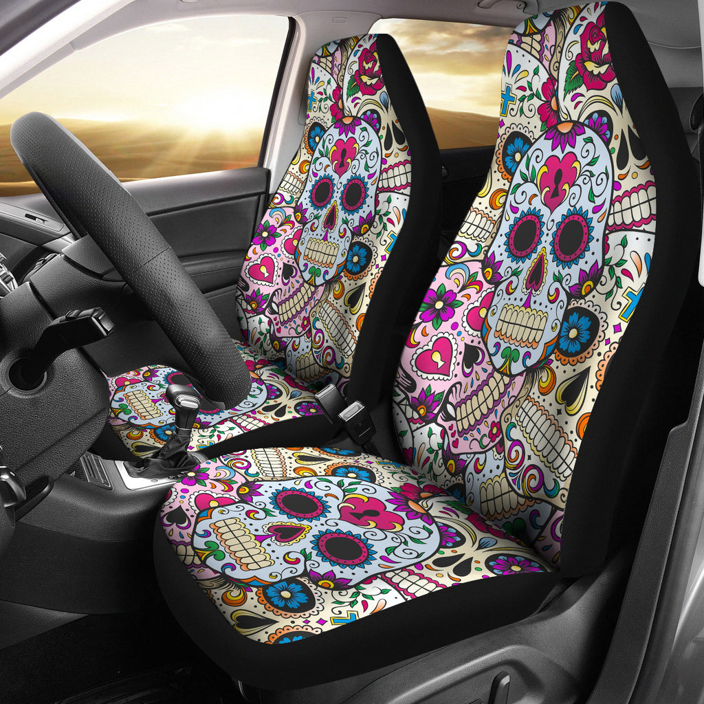 Set of 2 Sugar skulls - Day of the dead car seat covers