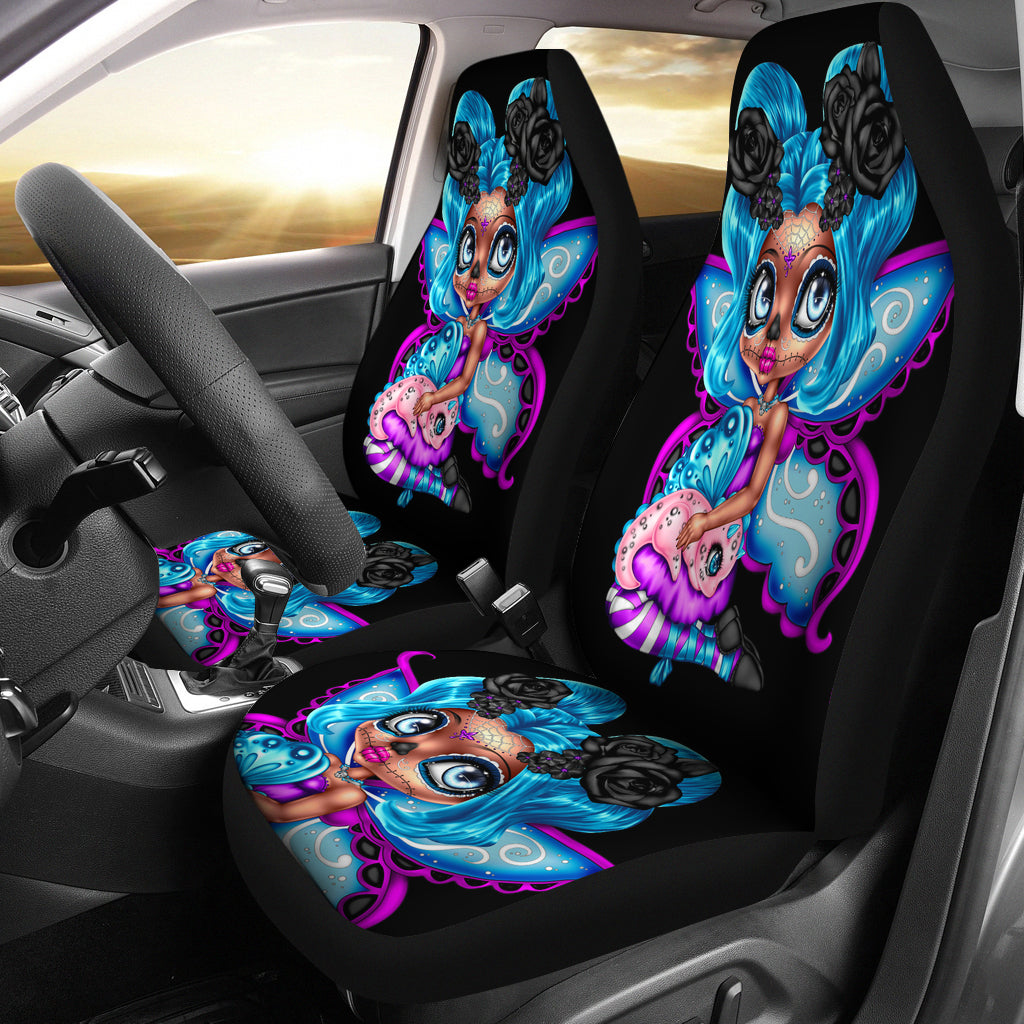 Set 2 sugar skull car seat cover day of the dead