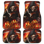 Set of 4 pcs flaming skull car mats
