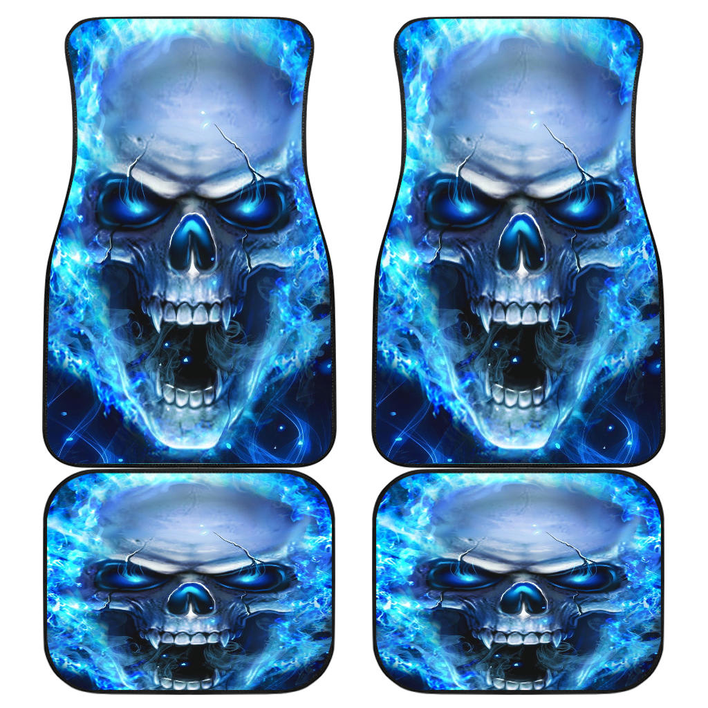 Set of 4 pcs Front and Back Skull car mats