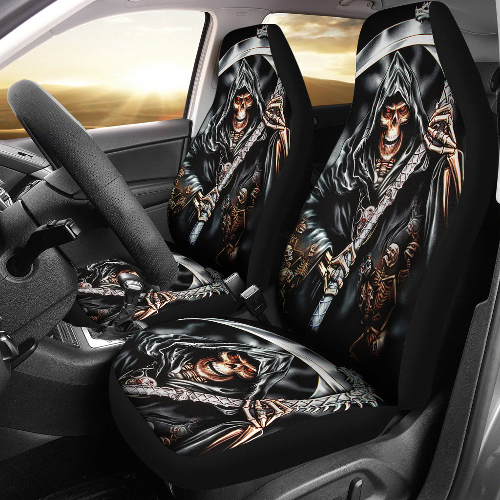 Set of 2 skull grim reaper car seat covers