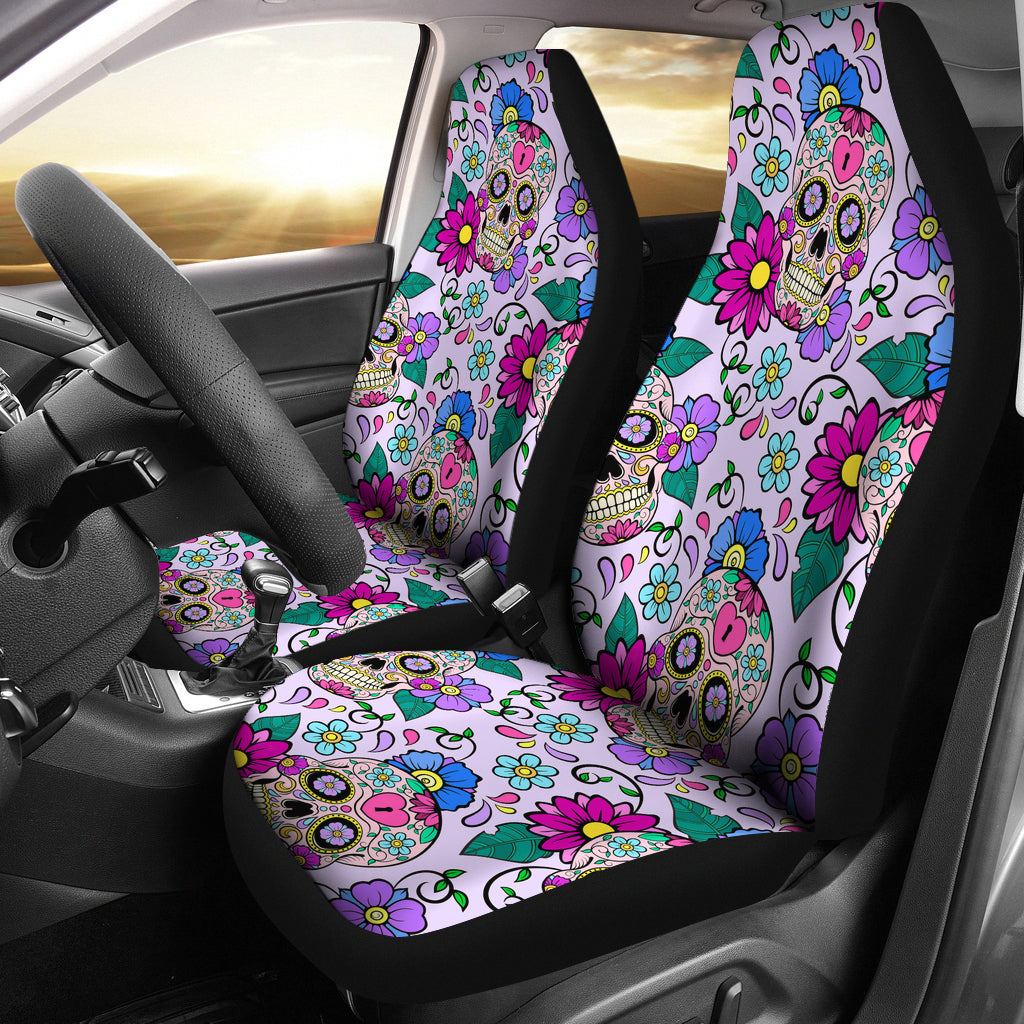 Set of 2 - Sugar Skulls - Car Seat Covers