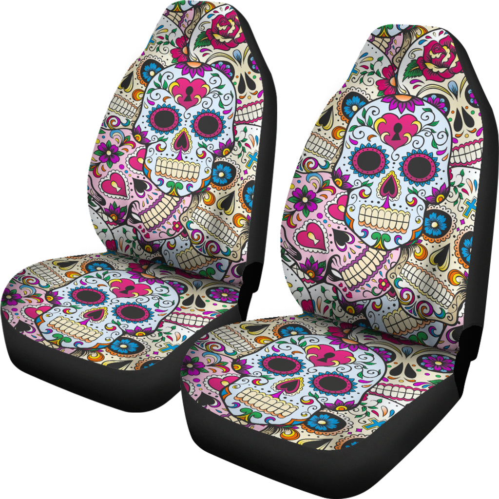 Admirable Set Of 2 Sugar Skulls Day Of The Dead Car Seat Covers Evergreenethics Interior Chair Design Evergreenethicsorg
