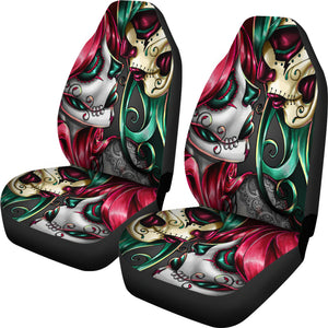 Set of 2 sugar skull girl car seat covers