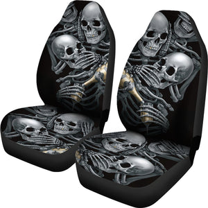Set 2 pcs No see no hear no speak skull gothic car seat cover