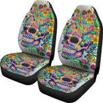 Set 2 pcs Floral sugar skull day of the dead skull car seat covers