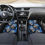 Set of 4 pcs blue flaming skull car mats