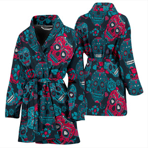 Sugar Skull Women's Bath Robe, sugar skull day of the dead skull pajamas dress