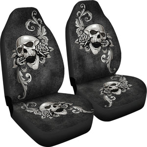 Set of 2 - Skull floral - Car Seat Covers