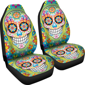 Set 2 pcs sugar skullGothic skull car seat covers